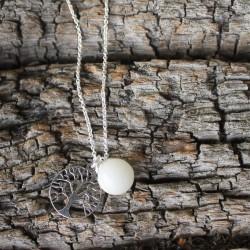 Kette Baum des Lebens mit Muttermilchperle  925 Sterlingsilber