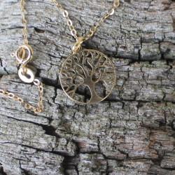 Kette Baum des Lebens 925 Silber, vergoldet