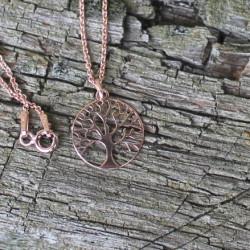 Kette Baum des Lebens mit Muttermilchperle  925 Silber, rosévergoldet