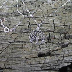 Kette Baum des Lebens mit Muttermilchperle  925 Silber