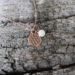 Kette Blume des Lebens mit Muttermilchperle  925 Silber rosévergoldet