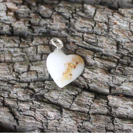 Anhänger Mini Herz mit Muttermilch, Nabelschnur und Blattmetall gold