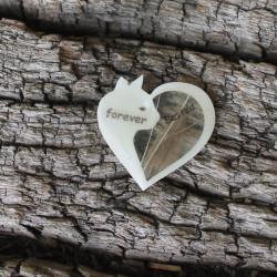 Erinnerungskette oder Schlüsselanhänger Herz mit Katzenfell