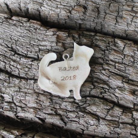 Erinnerungskette oder Schlüsselanhänger Katze mit Katzenfell