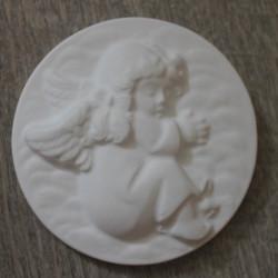 Rundes Kunststeinrelief Engel zum selbst bemalen