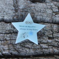 Stern für die Gedenkecke mit Sternschnuppe & Kindsdaten