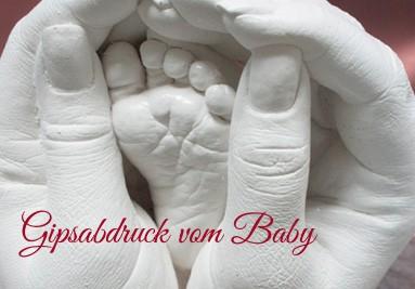 Gipsabdruck Babyhände, Babyfüsse